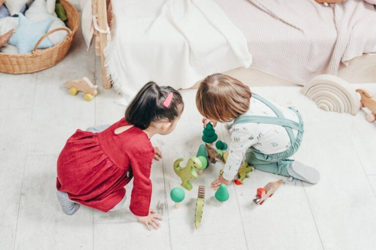 children leaning through play